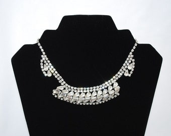 """Vintage 1950's Abstract Articulated Design Rhinestone Necklace - 14"""" Collar Band - Dog Collar Design - Holiday Sparkle - Wedding Bridal"""