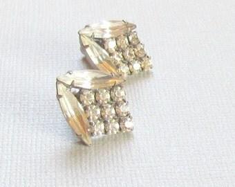 Rhinestone Earrings Pierced Floral Design Wedding Jewelry