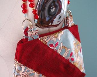 Dupioni silk and Chinese silk brocade handbag