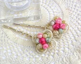 Vintage Bobby Pins, Bridal Bobby Pins, Wedding Hair Pins, Retro Bobby Pins, 1950s Bobby Pins, Ivory Pink Green