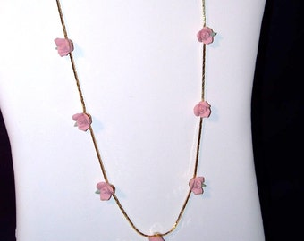 Pink Porcelain Rose Necklace  (1644)
