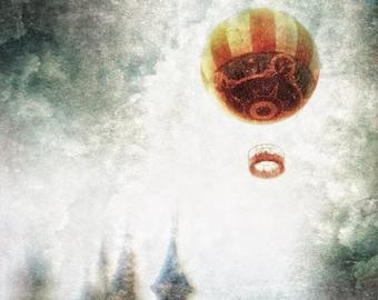 Square Photograph - Wall Art - Dreamy - Fantasy - Hot Air Balloon - Castle Fairy Tale - Digital Collage