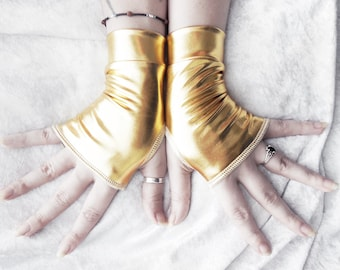 Tribute Wet Look Fingerless Gloves - Metallic Gold - Gothic Super Hero Cyber Visual Noir Steampunk Unisex Rivet Head Burlesque Goth Shiny