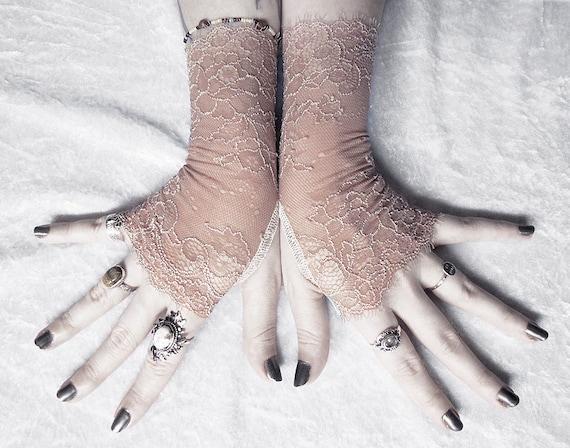 Dosya Lace Fingerless Gloves - Light Mocha Tan Brown Ivory Floral - Wedding Woodland Gothic Fetish Tribal Goth Mori Girl Bridal Bridesmaid