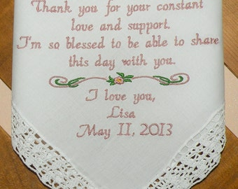 Embroidered Wedding Handkerchief, Aunt Wedding Gift, Auntie, Personalized Wedding Gift,Wedding Gifts By Canyon Embroidery