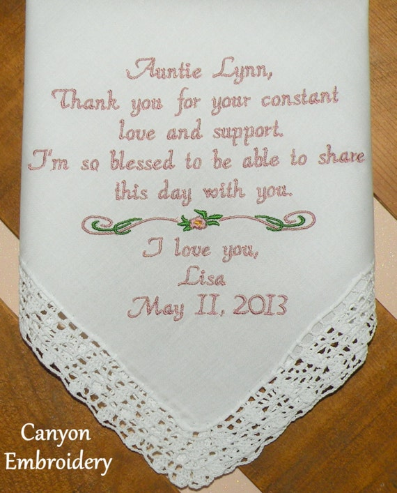 Wedding Gift For Aunt: Embroidered Wedding Handkerchief Aunt Wedding Gift Auntie
