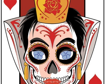 Queen of Hearts Sugar Skull Playing Card 11x14 print