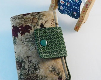 Woodland Sew Case, Sewing Kit, Travel Sewing Kit, Compact Sew Case, Mending Kit, Handmade Repair Kit, Sewing Wallet, Pine Cone,Gift Under 15