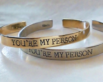 You're My Person Bracelet . Best Friends Jewelry . BFF Cuff . Personalized Friendship Bracelets
