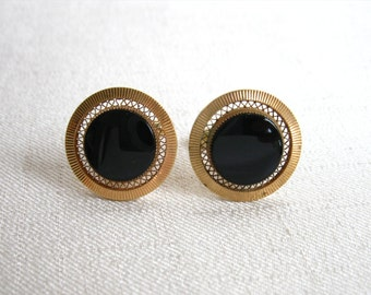 Vintage Cuff Links: Imitation Black Onyx, Black Plastic or Resin  Discs, Goldtone Metal Settings, circa 1960s, 1970s