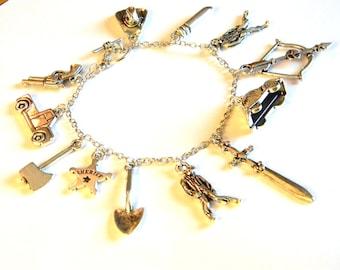 Zombie Apocolypse Charm Bracelet - Sword, Cowboy Hat, Gun, Sherrif Badge - TV Fandom - Geekery - Gift Idea Under 30, 50, 100