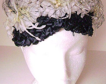 Vintage Hat 1950's Gorgeous Chipped Straw Navy Blue Floral with Netting Hat
