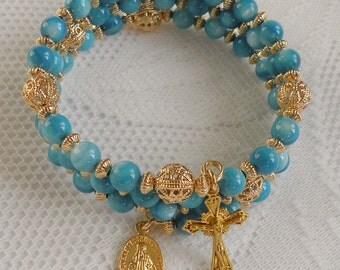 Five Decade Catholic Rosary Bracelet - Blue Mother-of-Pearl with Small Miraculous Medal - Available in Gold or Silver