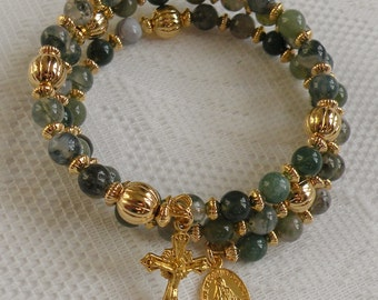 Five Decade Catholic Rosary Bracelet - Moss Agate with Small Miraculous Medal - Available in Gold or Silver