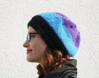 Striped Slouchy Beanie, Hand Knitted Beanie Hat, Women's Winter Fashion Accessory, Striped Hat, Fall Fashion - Lilac, Purple, Blue, Black
