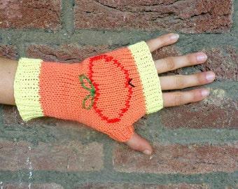 Applejack Fingerless Gloves, Apple, Hand Knitted Cotton Gloves, Short Gloves, MLP inspired, My Little Pony, Tween Girls  - Yellow, Orange