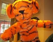 Tiger Plush Arm Hand Puppet Activity Toy Made to Order Tiger Print Fabric Toddlers Kids  Play Toy Calico Lined Party Activity Toy