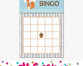Fox Baby Shower Bingo Card - Printable Bingo Card - Printable Baby Shower Game - Boy Baby Shower - Woodland Animals - Instant Download - PDF