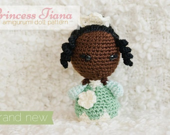 Princess Tiana Amigurumi Doll inspired by Disney's Princess and the Frog // Disney Crochet Pattern // Instant Download
