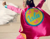 New GIRLS Personalized Superhero Cape with FULL NAME - Butterfly Cape - Girls Superhero Party - Birthday Gift - Easter Present - Fast Ship