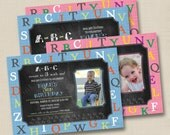 Alphabet ABC Chalkboard Custom Birthday Party Invitation or Baby Shower Invitation Design- any occasion with or w/out photo