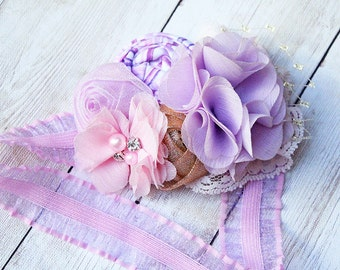 Let Down Your Hair- Rapunzel inspired inspired rosette, chiffon flower and lace headband with lace