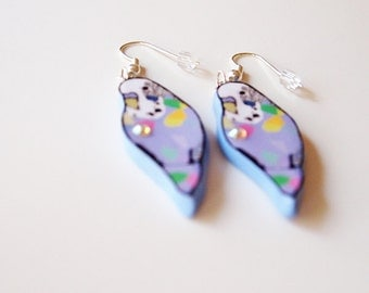 Budgie Earrings Blue Lilac, Handmade, Dangle Earrings, Birds, Kawaii