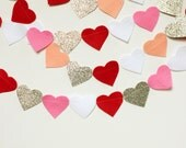 valentines day felt and glitter heart garland- READY TO SHIP