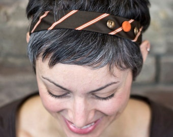Upcycled Recycled Repurposed Brown Orange Elastic Necktie Headband with Buttons for Women and Girls by Lulu Bea