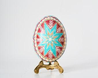 Red Turquoise pysanka, Ukrainian Easter egg,sratburst design,interesting pysanky, learn how to make ukrainian Easter egg,what is pysanka egg