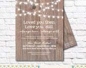 Vow Renewal Invitation- Wood / Vow Renewal / Marriage / Festoon Lights / Twinkle Lights / Rustic