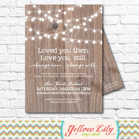 Vow Renewal Invitation Wood Vow Renewal Marriage