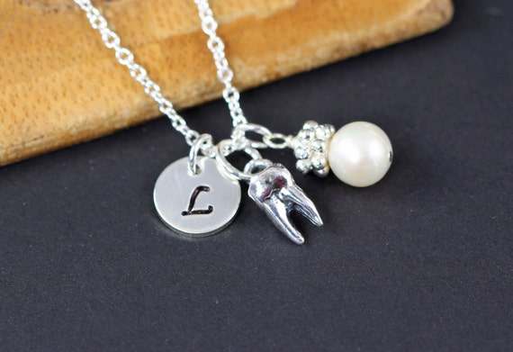 Tooth Charm Necklace Personalized Jewelry for Dentist Dental