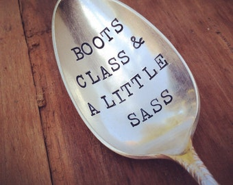 Vintage Silverware Silver Plate Boots Class & A Little Sass Large Serving Spoon