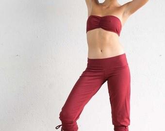 Red Riding Pants - Jodhpurs - Capri Pants - Yoga Pants - Red Pants - Leggings - Organic Cotton - Pants