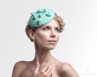 Mint Sea Green Headpiece on a Headband - Pillbox Fascinator - Easy to Wear Hats - Cocktail Women's Accessories Handmade