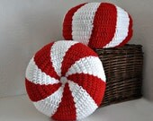 Pair of Peppermint Pillow Cushion Christmas Home Decor Photo Prop Candy