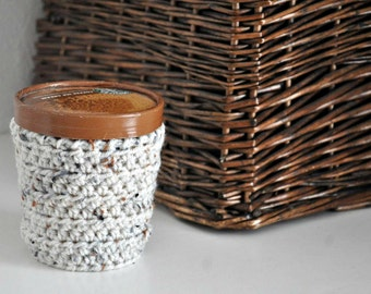 Oatmeal Ice Cream Cozy Crocheted Holder Pint Size Eco Friendly Reusable Cover Get Well Gift Friend Gift Easy Hold