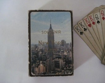 nyc - vintage NEW YORK CITY Boxed Deck of Playing Cards - Empire State Building, Skyscraper, Skyline, cityscape, Arrco, Souvenir,Game, Set