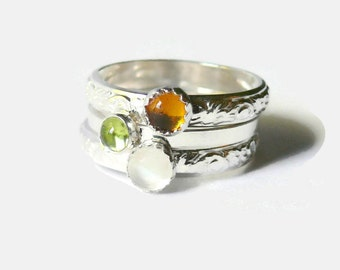 Sterling silver stacking gemstone rings stackable rings stacking ring set sterling silver ring moonstone, peridot, amber natural stone ring
