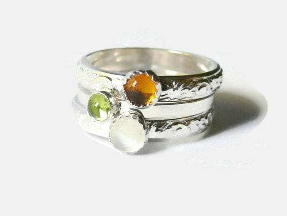 Sterling silver stacking gemstone rings stackable rings stacking ring set sterling silver ring moonstone, peridot, amber natural stone ring