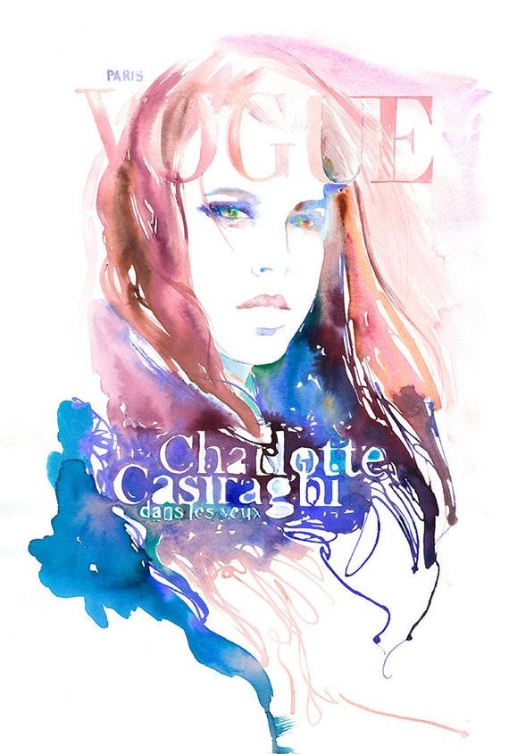 Archival Prints of Charlotte, Watercolour Fashion illustration.  Paris Vogue Art Cover. Charlotte Casiraghi