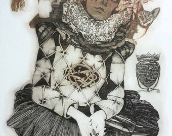 Etching / limited edition original etching (printmaking / graphic art) / original print / original art / woman art - 'Harlequin'