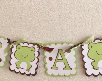 It's A Boy Banner | Frog Baby Shower Banner |  Green Brown