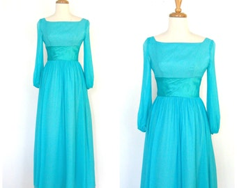 Vintage 70s Party Dress - blue wedding dress - Alice in Wonderland  - blue maxi - bridesmaid - fitted waist - Lorrie Deb - Small