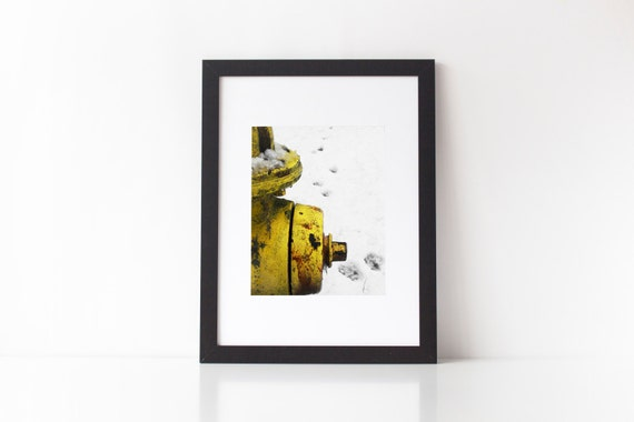 Rusty Fire Hydrant bright yellow and white decor humorous print paw prints winter snow scene industrial 8 x 10 fine art photography