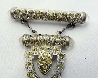 Clear Rhinestone Brooch Shield design Silver Plated Apparel & Accessories Jewelry Vintage Jewelry Brooch Rhinestone