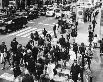 NYC Photography, city street scene, I love NYC photo, crowd of people, black and white photography, Urban Home Decor.
