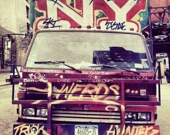 NYC Graffiti Truck Photograph, urban style art print, NYC Photography, city streetart. I Love New York