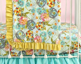Bumperless Baby Bedding, Custom Baby Girl Bedding with Mustard Yellow & Teal Ruffle Crib Bedding Accents -  Lily Belle